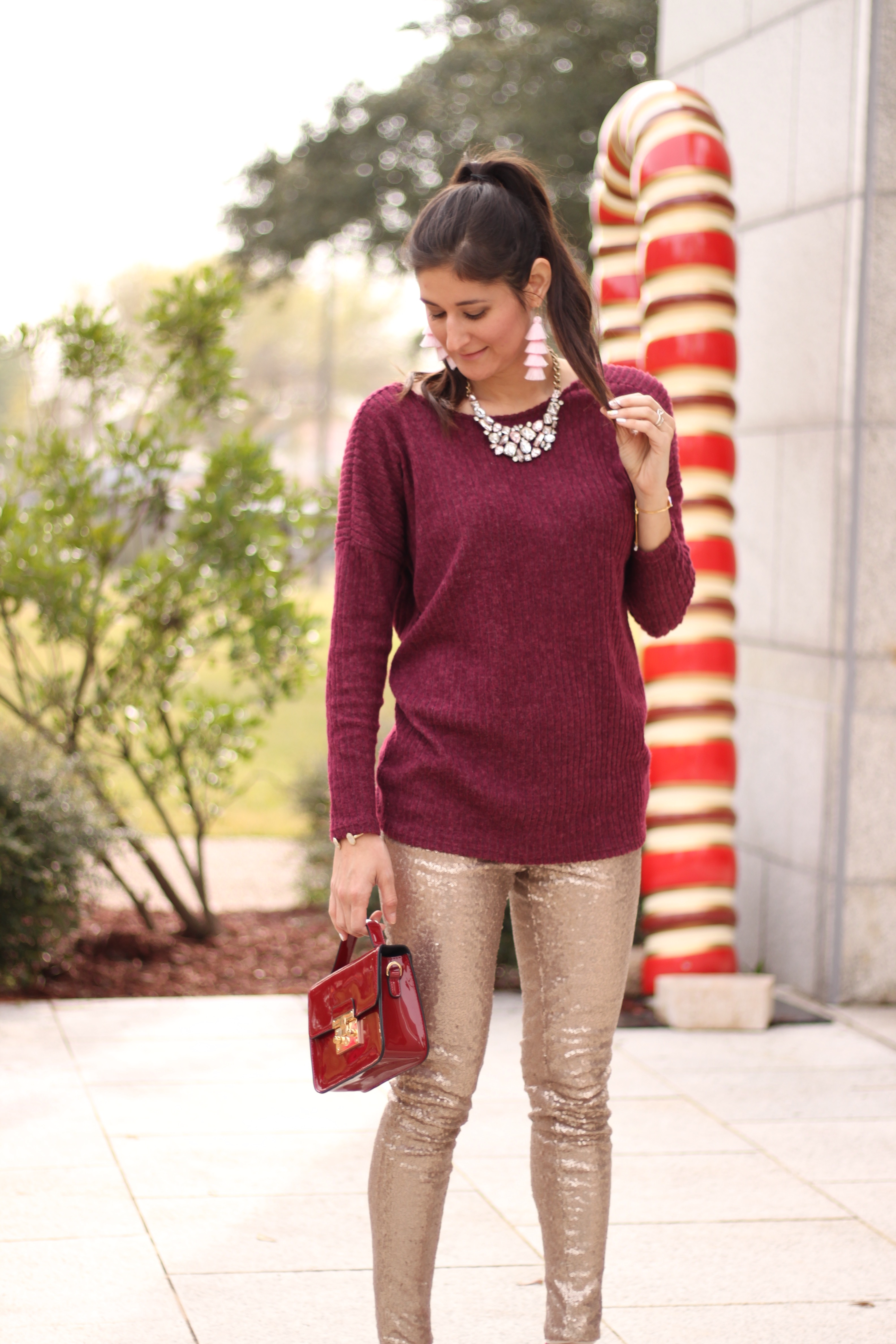Glitter sequins leggings outfit. The Fashionable Maven