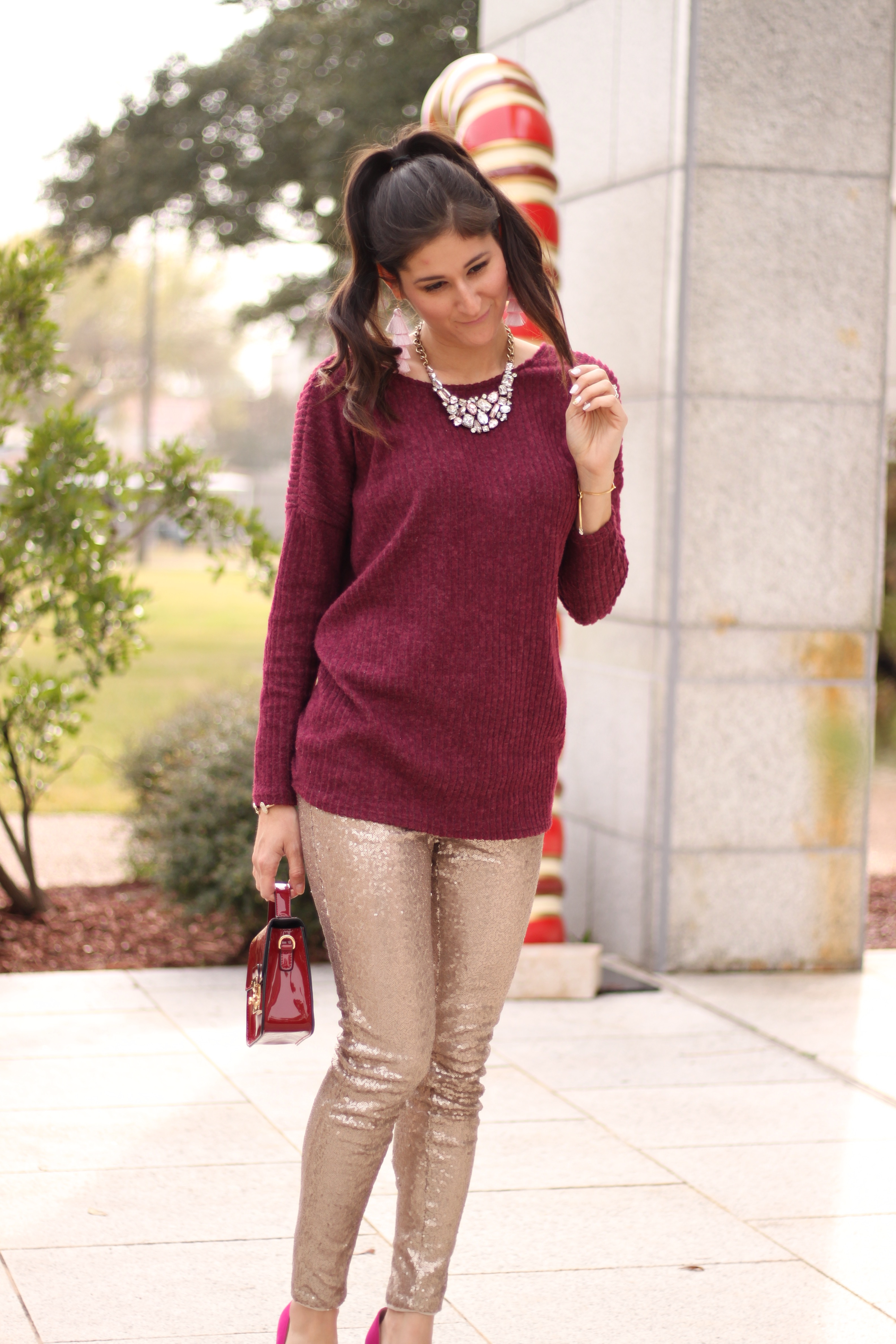 Glitter sequins leggings outfit #christmasstyle The Fashionable Maven