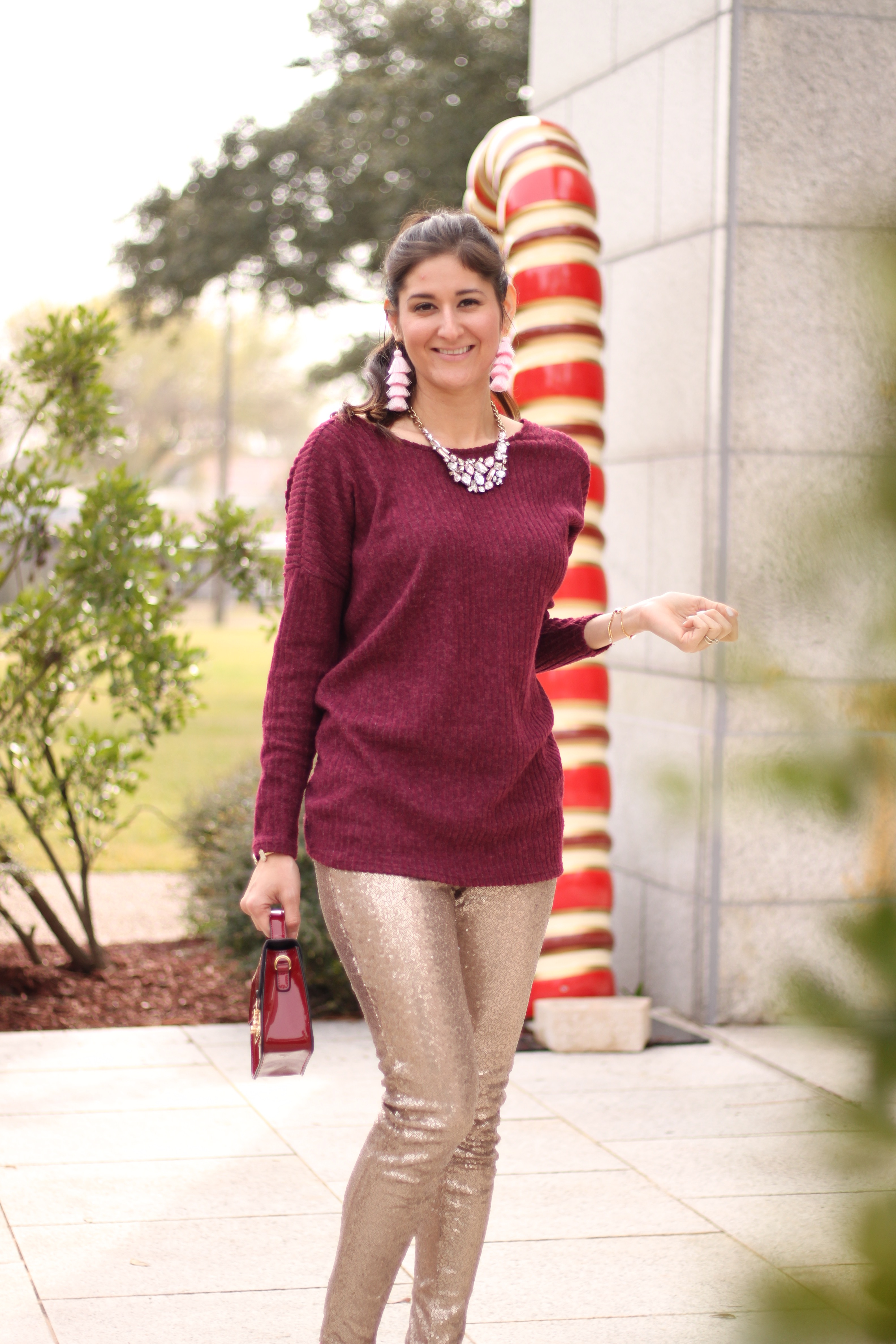 Champagne sequins leggings style. The Fashionable Maven