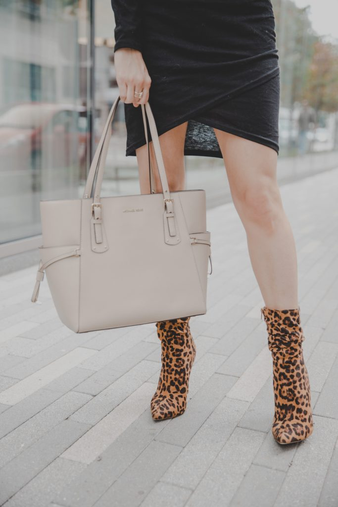 Leith ruched dress outfit, Leith rushed dress outfit winter, shirt dress outfit, shirt dress outfit winter, fashion dresses, fashion dresses winter, casual dresses, Leopard booties, Leopard shoes outfit
