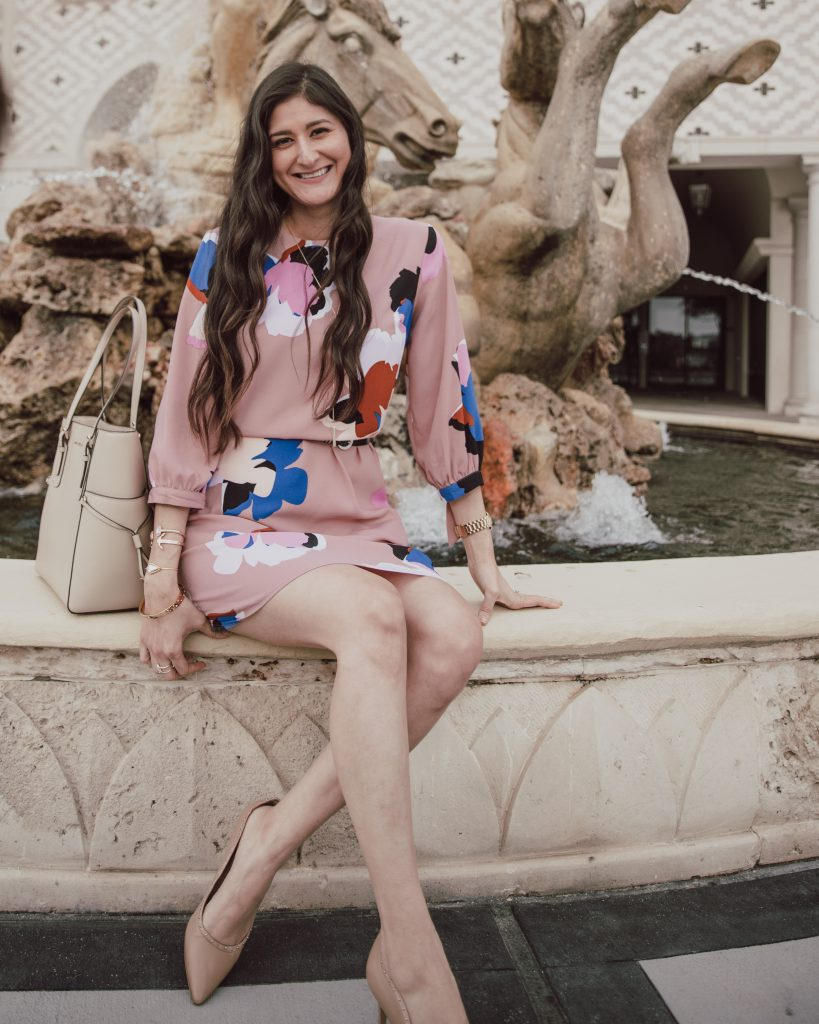 Blush Floral midi dress for spring. Midi floral dress outfit is paired with sam edelman nude heels.  This floral dress is so cute and can be styled mulitiple ways.  #springoutfit #mididresses #floraldress