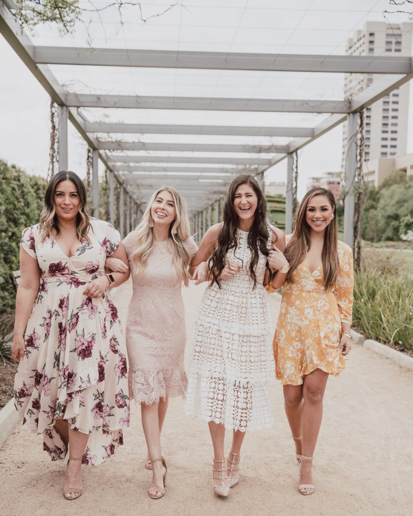 4 bloggers model 4 different styles of spring dresses great for Easter and spring weddings style. Click to read more at thefashionablemaven.com