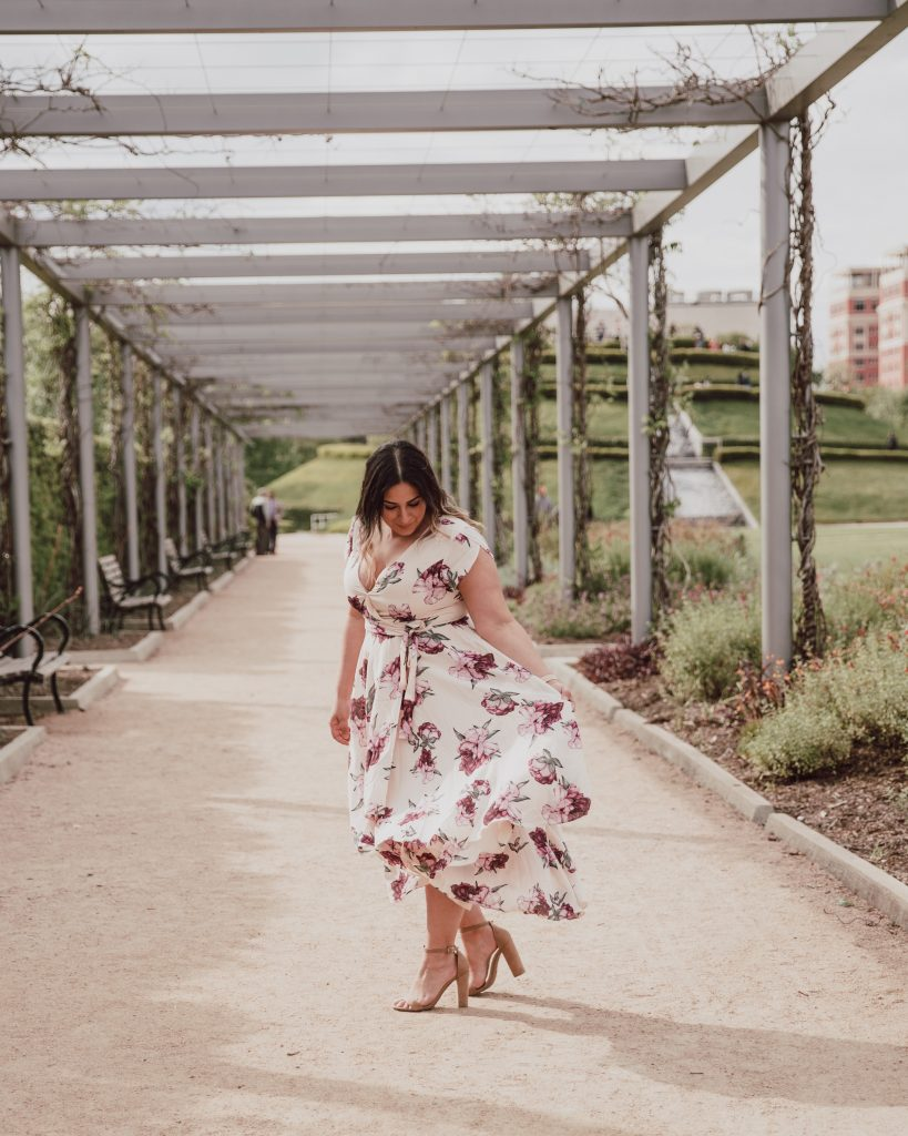 Pretty spring floral high low dress with cap sleeves. This dress is so flowy and lightweight. Click to read about 5 other spring dresses.